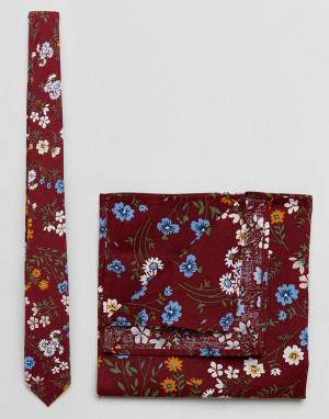 ASOS Галстук с цветочным принтом и платок паше бордовой расцветки. Цвет: красный