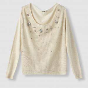 Пуловер с вышивкой, круглый вырез MOLLY BRACKEN. Цвет: черный,экрю