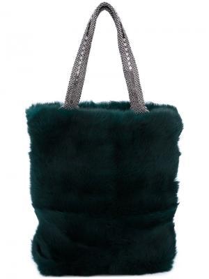 Сумка-шоппер из кроличьего меха Laura B. Цвет: зелёный