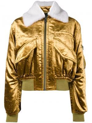 Куртка-бомбер металлик Haider Ackermann. Цвет: жёлтый и оранжевый