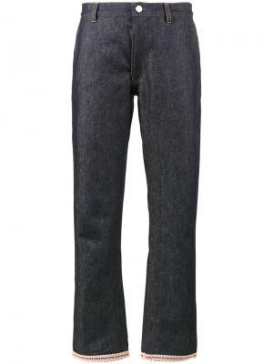 Джинсовые брюки с декором на подоле Jour/Né. Цвет: синий