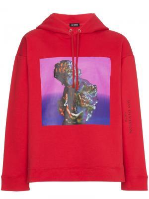 Толстовка с капюшоном и принтом New Order Raf Simons. Цвет: красный