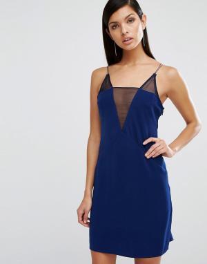 AQ Платье мини с сеточкой и глубоким V-образным вырезом AQ/AQ Montana. Цвет: темно-синий