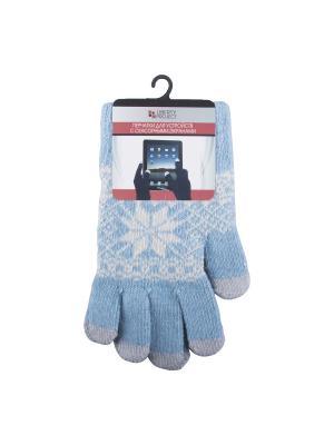 Перчатки LP для сенсорных экранов Снежинка Liberty Project. Цвет: голубой