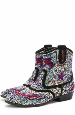 Кожаные ботинки со стразами Missouri. Цвет: черный