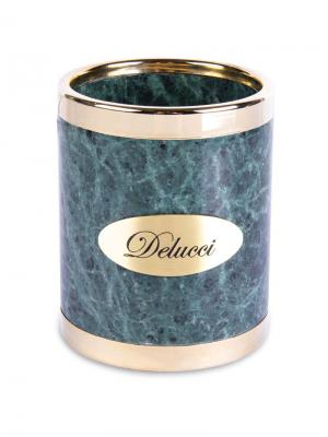 Стакан для карандашей Delucci. Цвет: зеленый, золотистый