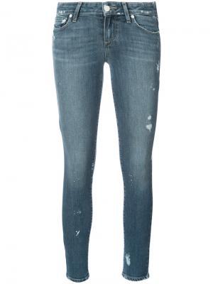 Состаренные джинсы скинни Paige. Цвет: синий
