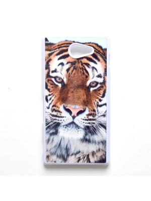 Чехол для Sony Xperia M2 Тигр Boom Case. Цвет: черный, белый, персиковый