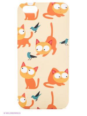 Чехол для IPhone 5 Рыжие кошки Mitya Veselkov. Цвет: кремовый, оранжевый