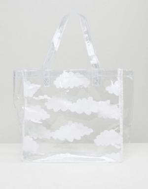 Lazy Oaf Прозрачная сумка-тоут с облаками. Цвет: прозрачный