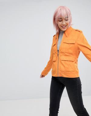 ASOS Куртка в стиле вестерн из искусственной кожи с карманами. Цвет: оранжевый