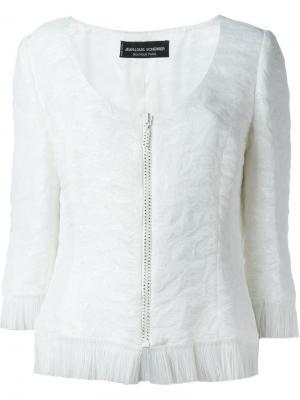 Пиджак с бахромой Jean Louis Scherrer Vintage. Цвет: белый