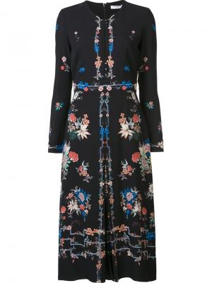 Платье с цветочным принтом Vilshenko. Цвет: чёрный