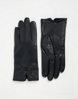 Totes Кожаные перчатки со стегаными манжетами. Цвет: темно-синий