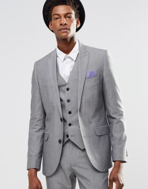 Harry Brown Светло-серый пиджак узкого кроя. Цвет: серый
