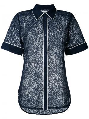 Кружевная рубашка  с контрастной окантовкой Essentiel Antwerp. Цвет: синий