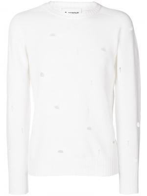 Пуловер с рваной отделкой Dondup. Цвет: белый