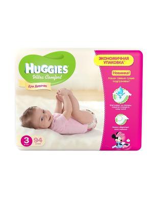 Подгузники Ultra Comfort Размер 3 5-9кг 94шт для девочек HUGGIES. Цвет: белый