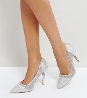 QUPID Туфли на высоком каблуке с острым носком и сетчатой отделкой. Цвет: серебряный
