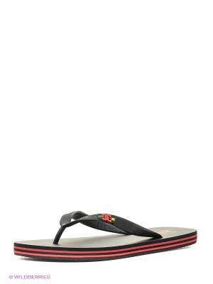 Шлепанцы SPRAY M SNDL DC Shoes. Цвет: темно-серый, бронзовый, красный