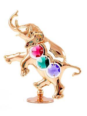Фигурка декоративная Слоник CRYSTOCRAFT. Цвет: золотистый, красный