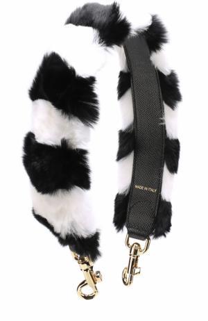 Ремень для сумки с отделкой из меха кролика Dolce & Gabbana. Цвет: черно-белый