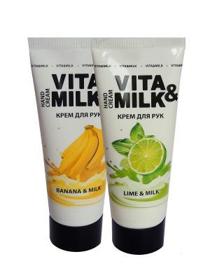Крем для рук в наборе, ароматы: Банан, Лайм VITA-MILK. Цвет: розовый