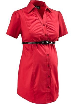 Бизнес-мода для беременных: блузка-стретч + ремень (2 изд.) (красный) bonprix. Цвет: красный