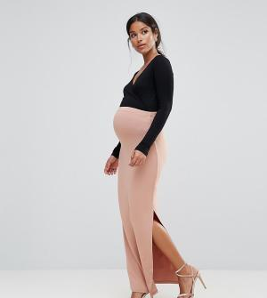 ASOS Maternity Юбка макси с разрезом и вставкой для живота. Цвет: розовый