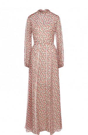 Приталенное шелковое платье-макси с принтом Rochas. Цвет: красный