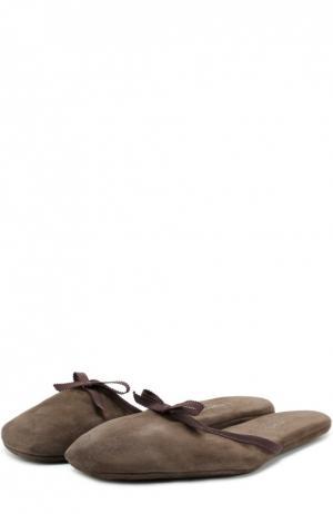 Домашние туфли из замши с бантом Homers At Home. Цвет: коричневый
