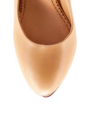Кожаные туфли Dolly Gold Platform Charlotte Olympia. Цвет: бежевый, золотой