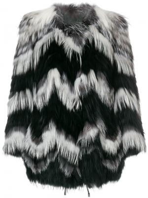 Короткое пальто с панельным дизайном Yves Salomon. Цвет: многоцветный