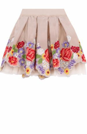 Многослойная мини-юбка с вышивкой и фигурным подолом Monnalisa. Цвет: бежевый