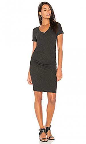 Платье-футболка с рюшами Lanston. Цвет: черный