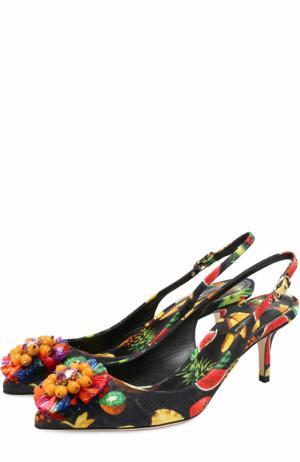 Туфли Bellucci из текстиля с брошью Dolce & Gabbana. Цвет: черный