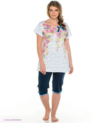 Пижама PELICAN. Цвет: серо-голубой, белый