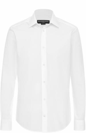 Хлопковая сорочка с воротником кент Balenciaga. Цвет: белый