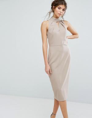 Closet London Платье миди с вырезом капелькой. Цвет: бежевый
