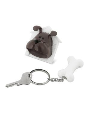 Держатель-брелок для ключей Woof! Balvi. Цвет: темно-коричневый, белый