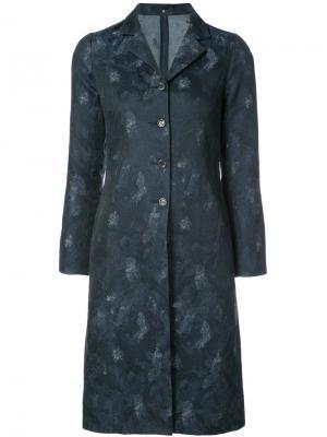 Однобортное пальто с узором Peter Cohen. Цвет: синий