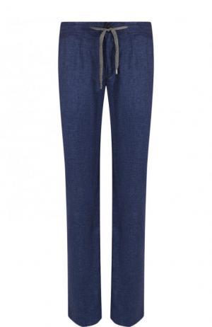 Льняные брюки прямого кроя Cortigiani. Цвет: синий