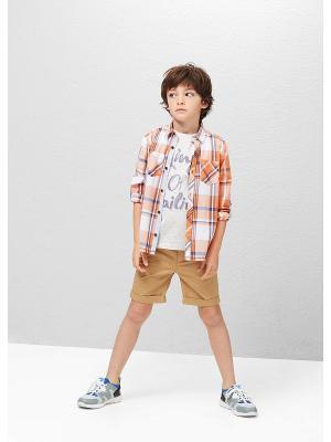 Рубашка Mango kids. Цвет: оранжевый