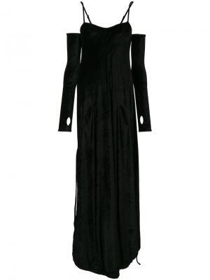 Бархатное платье с перчатками  Andrea Yaaqov Ya'aqov. Цвет: чёрный