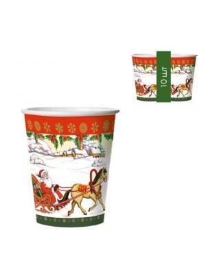 Набор одноразовых стаканов Дед Мороз на санях, 0,25 л, 10 шт/упак Bulgaree Green. Цвет: белый, зеленый, красный