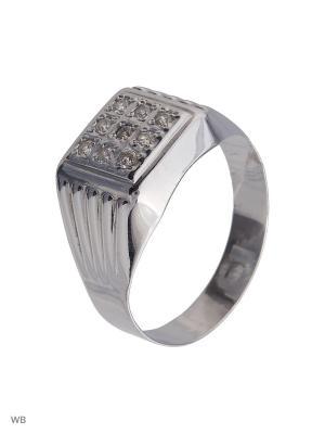 Кольцо мужское (печатка) ACCENT jewelry. Цвет: серебристый, коричневый