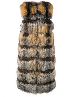 Удлиненный жилет Liska. Цвет: коричневый