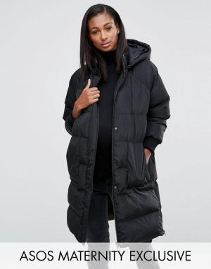 ASOS Maternity Дутая куртка для беременных с матовым эффектом. Цвет: черный