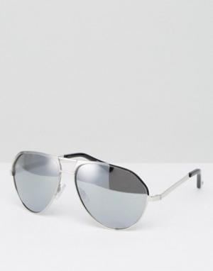 Jeepers Peepers Классические солнцезащитные очки-авиаторы с серебристыми зеркальными. Цвет: серебряный