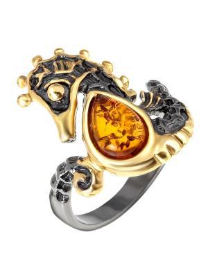 Кольцо Балтийское золото. Цвет: черный, горчичный, золотистый